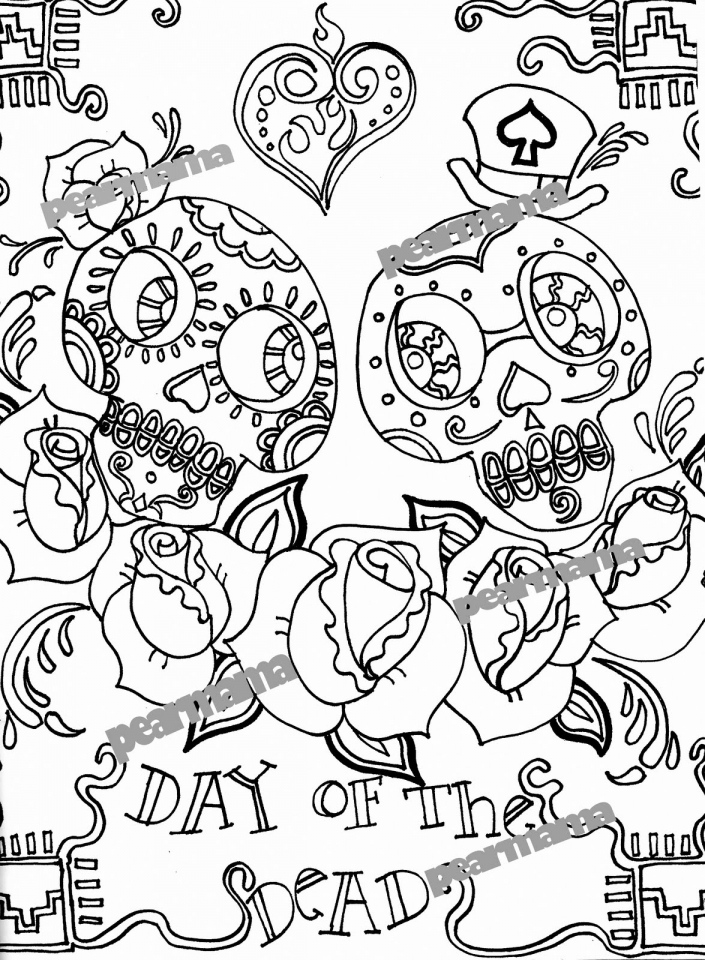 Day Of The Dead Coloring Pages Free For Adults Ycv31
