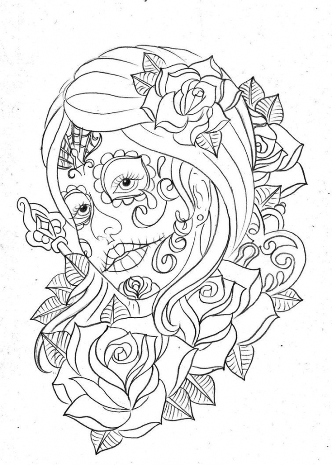 day of the dead coloring pages free to print tac41 - Day Of Dead Coloring Pages