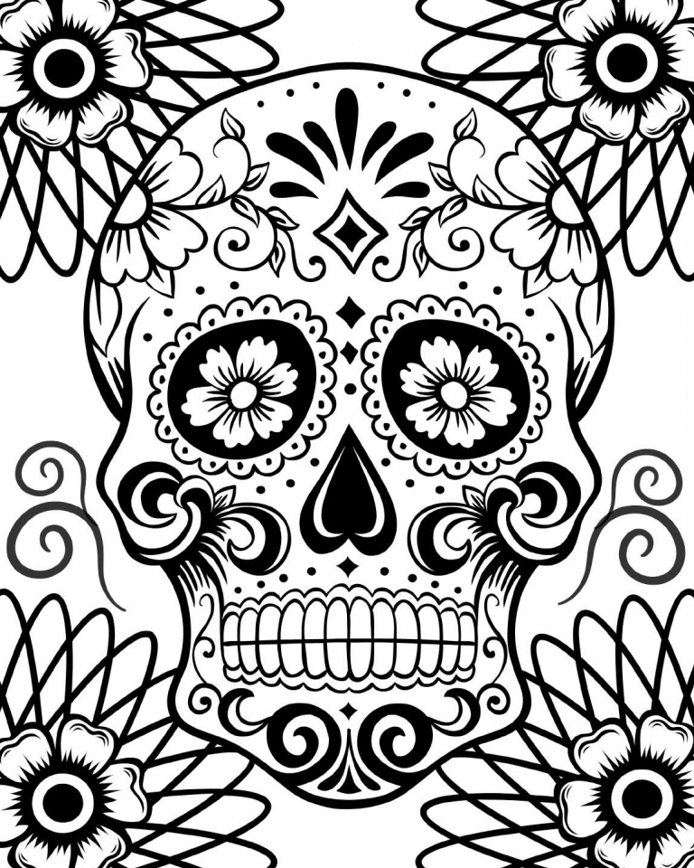 Day Of The Dead Skulls Coloring Pages