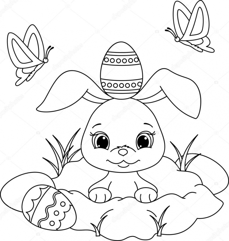 Get This Easter Bunny Coloring Pages for Preschoolers 85031