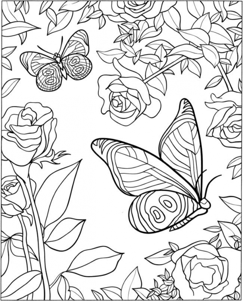Get this free printable butterfly coloring pages for Coloring book day