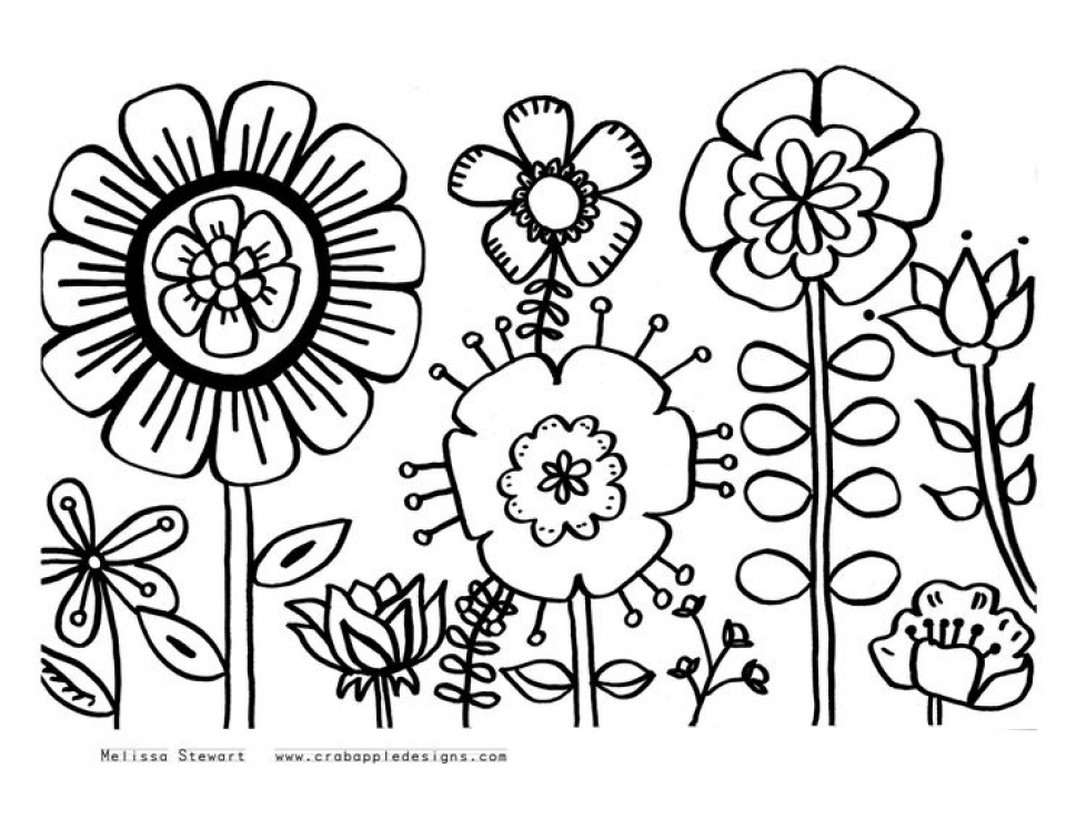 free printable flower coloring pages 2178 - Flower Color Pages