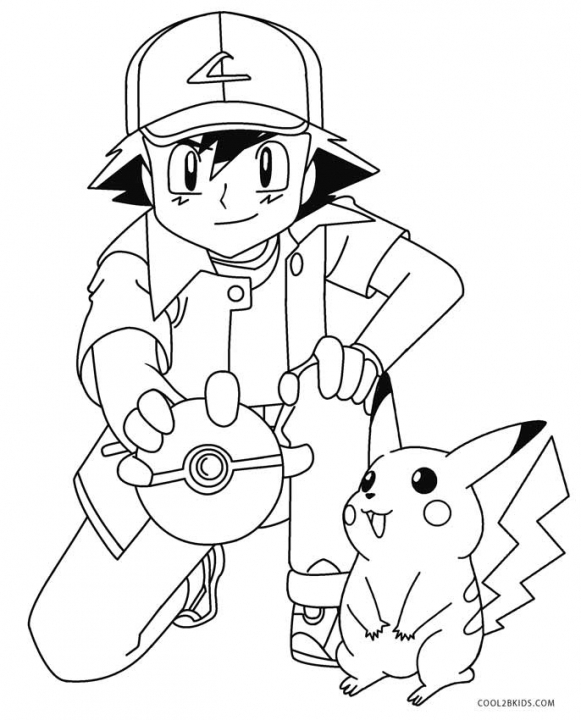 Get This Pikachu and Ash Coloring