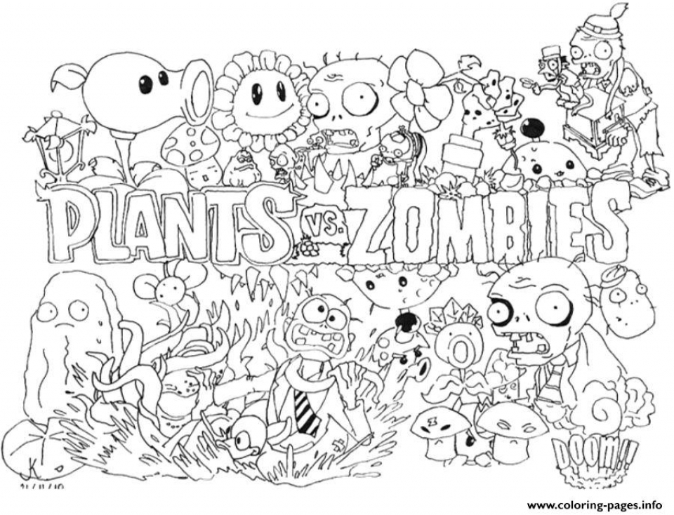 Plants Vs Zombies Coloring Pages Free For Kids Taye3
