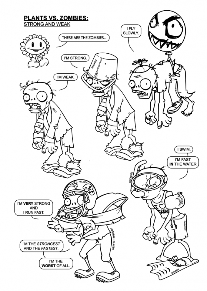 Zombie Coloring Pages Pdf : Free printable plants vs zombies coloring pages