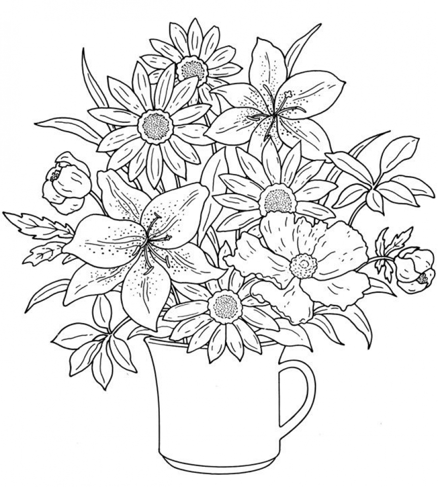 Get this realistic flowers coloring pages for adults raf61 for Coloring pages of a flower