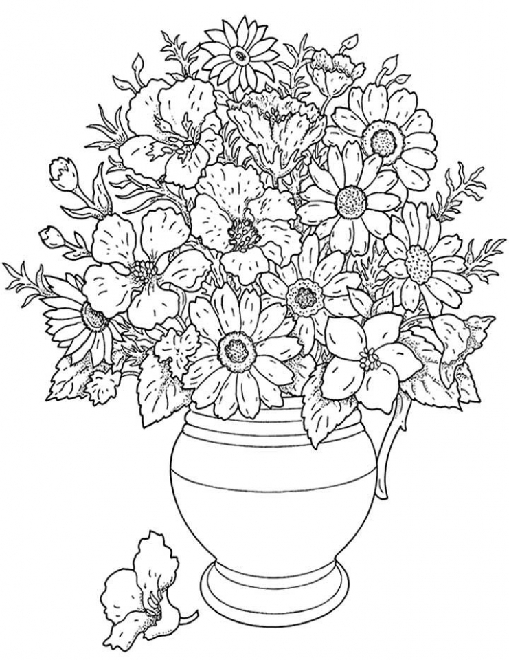 Detailed Flowers Coloring Pages for Adults