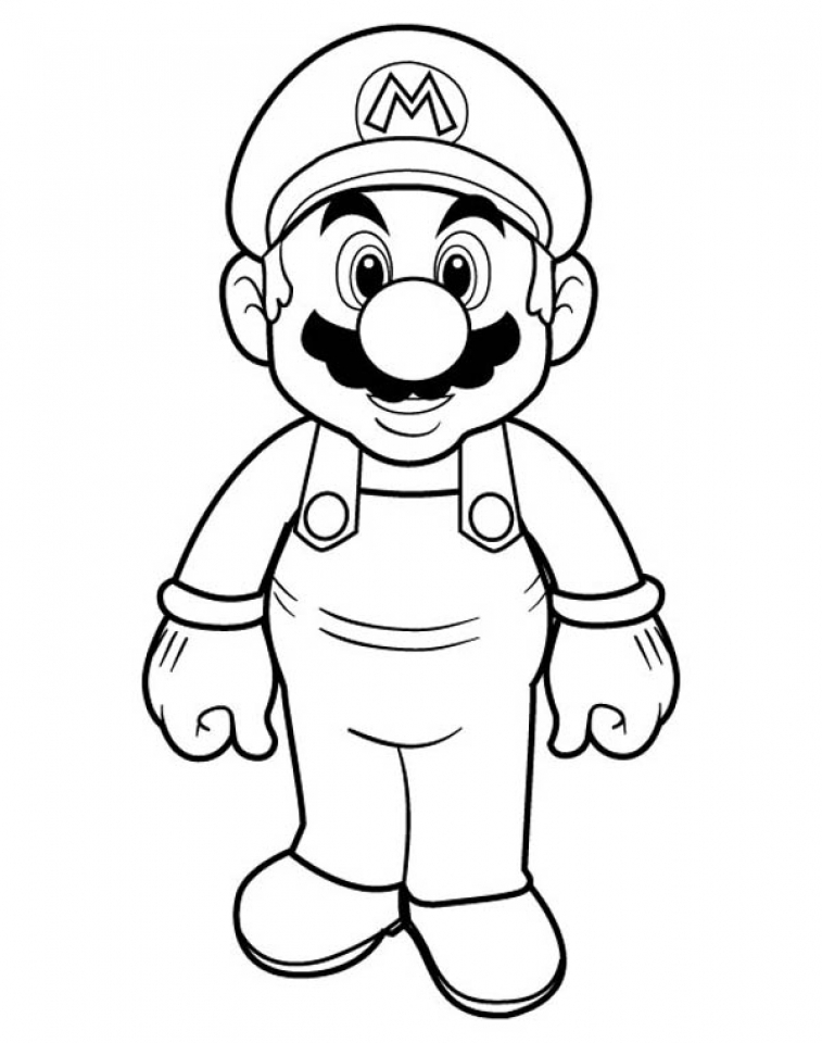 Coloring pages mario and luigi cap coloring pages for Mario color page