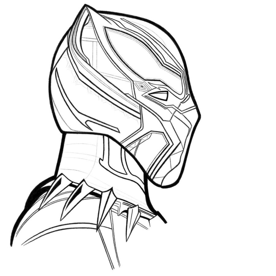 Coloring pages Black Panther. Superhero Marvel Free | 900x900