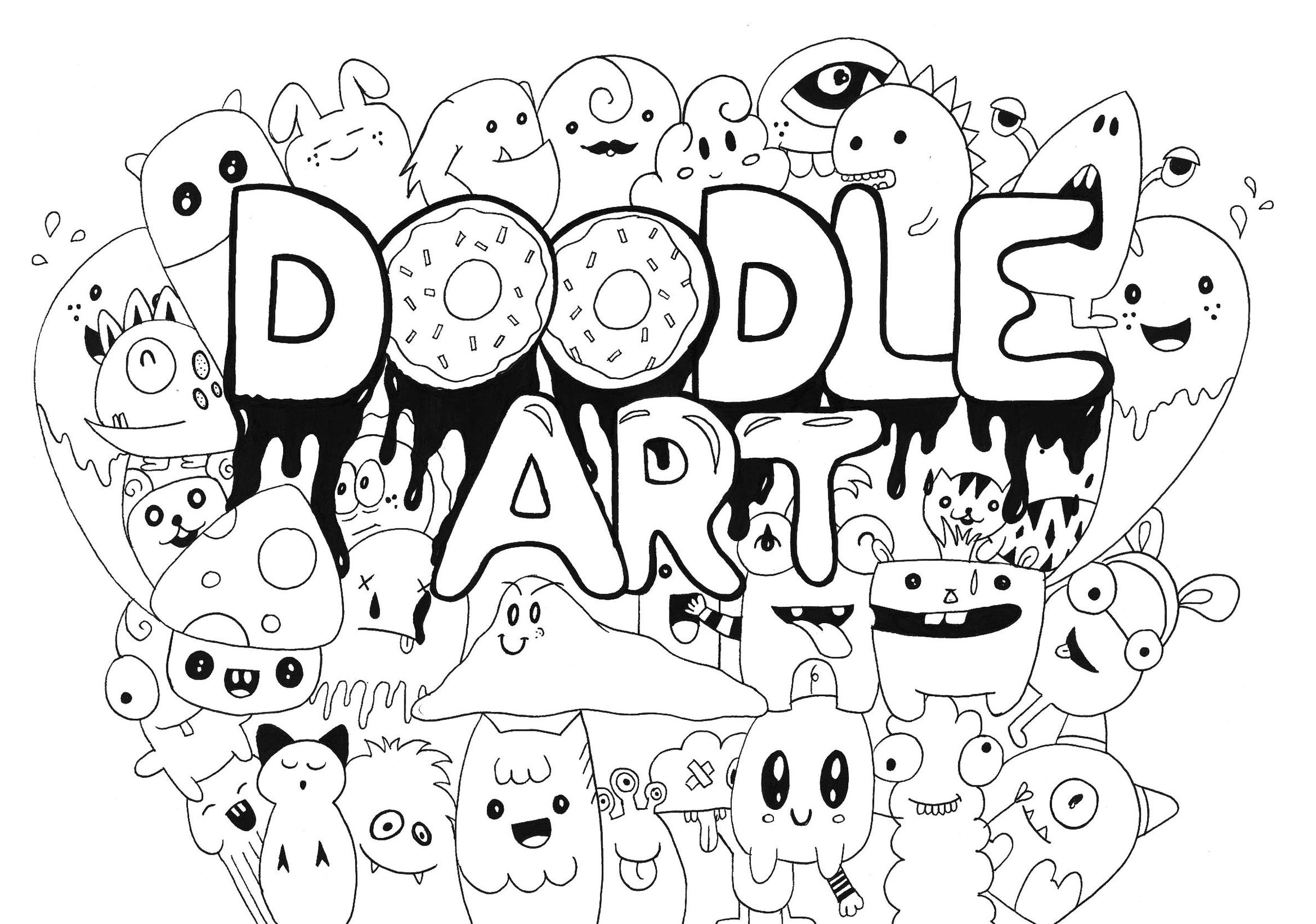 Get This Kawaii Coloring Pages Monster Doodle Art