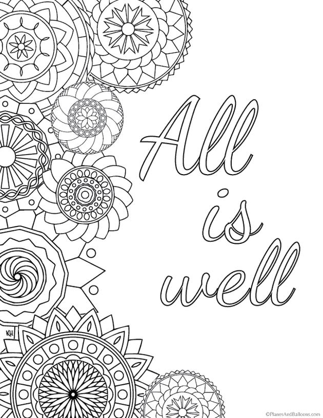 Get This Printable Adult Coloring Pages Quotes All Is Well !