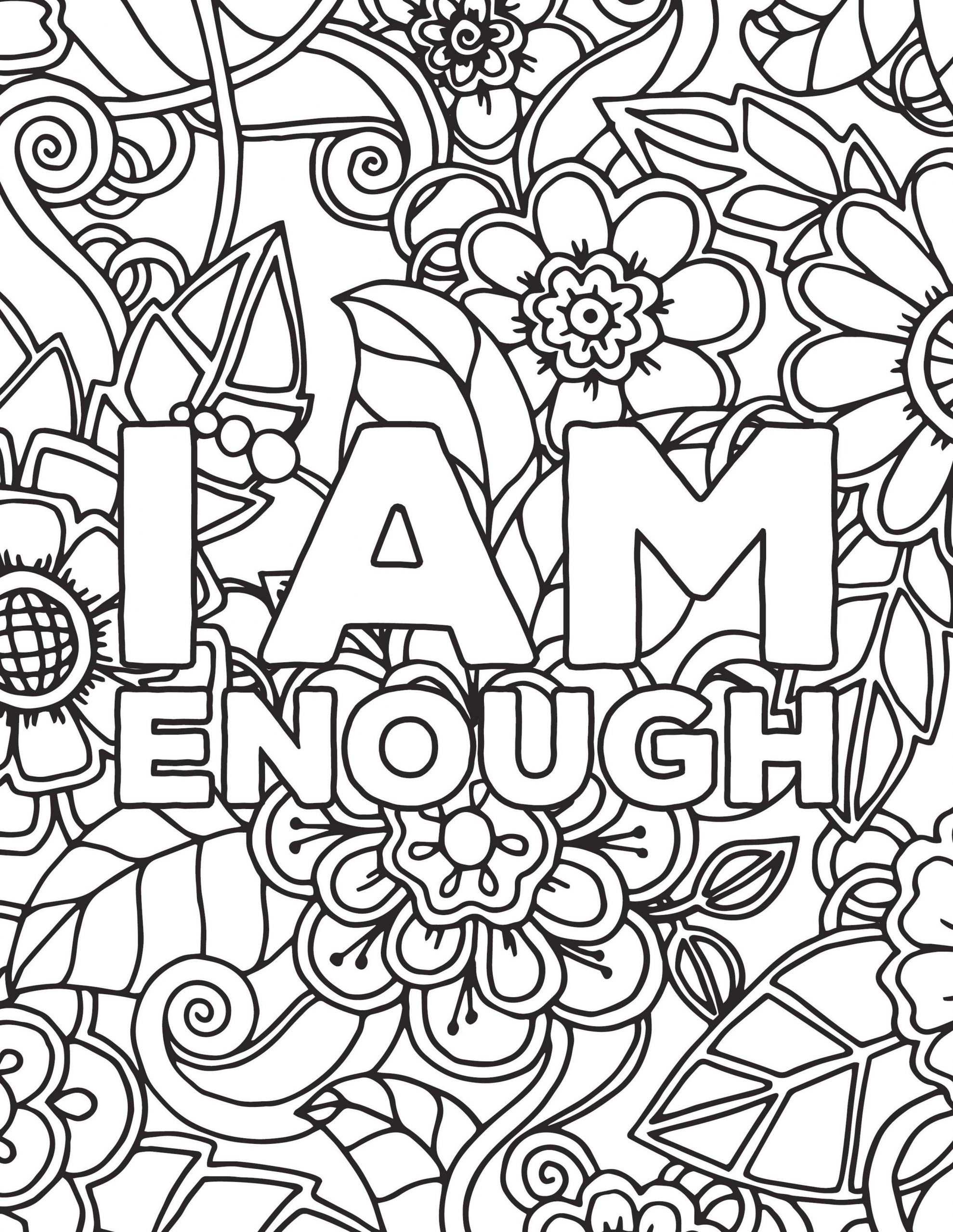 Get This Printable Adult Coloring Pages Quotes I Am Enough