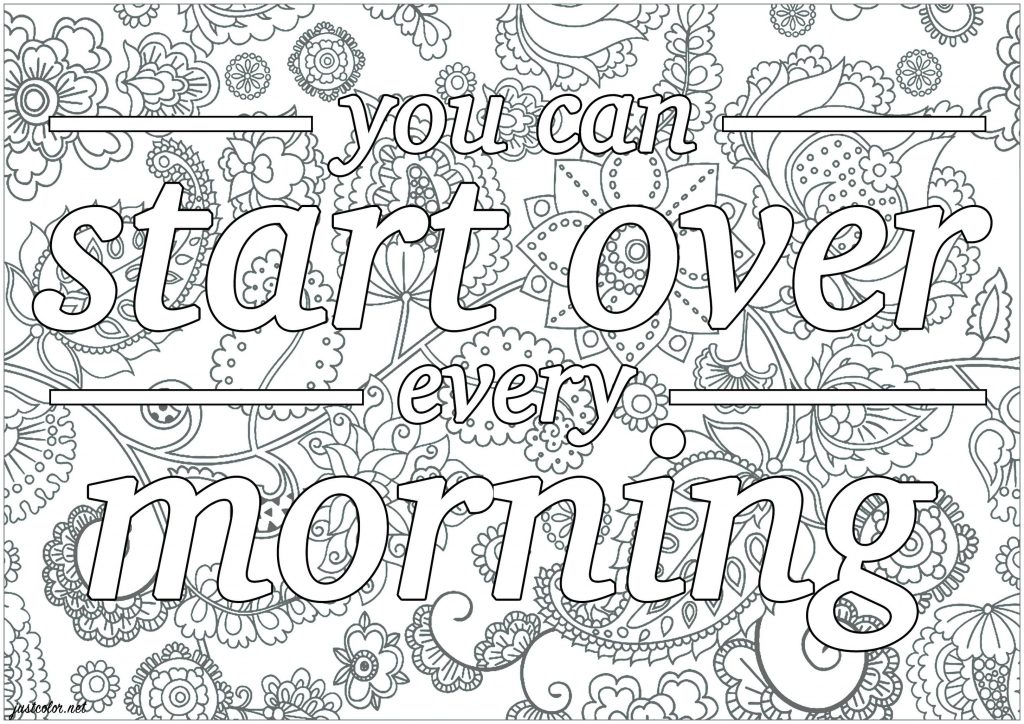 Get This Printable Adult Coloring Pages Quotes Start Over ...