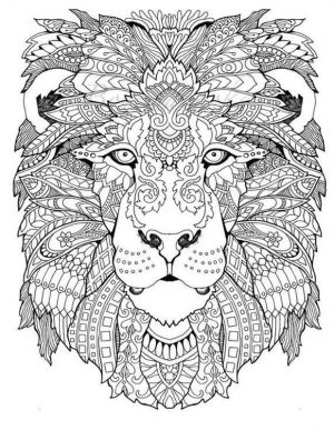Adult Coloring Pages Animals Lion 3