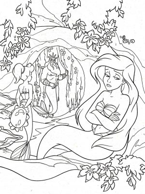 Adult Coloring Pages Disney Ariel the Little Mermaid Complex Drawing