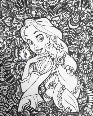Adult Coloring Pages Disney Rapunzel and Her Chameleon Pet