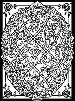 Adult Easter Coloring Pages Complex Floral Design on Easter Egg