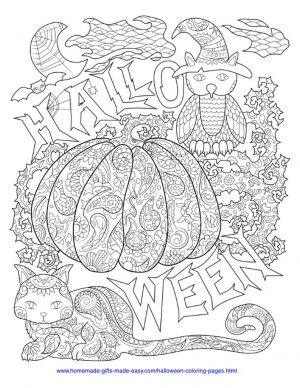 Adult Halloween Coloring Pages Owl and Cat 3oac