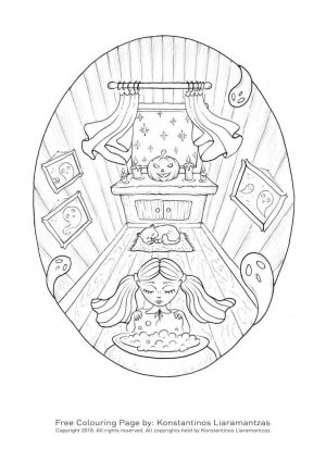 Adult Halloween Coloring Pages Witch and Cat 9wzc