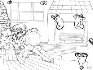 Anime Coloring Pages for Girls Merry Christmas