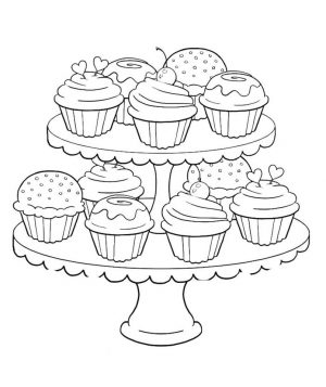 Birthday Cupcake Coloring Pages for Kids – 7gb41