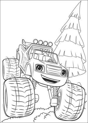 Blaze Coloring Pages Printable Blaze Carrying a Pine Tree
