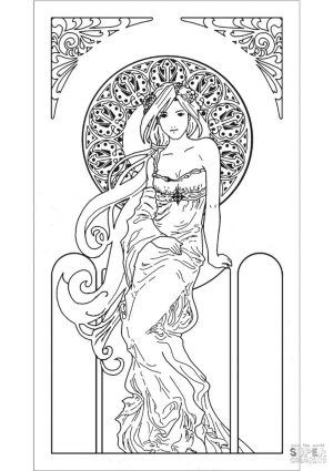 Coloring Pages for Teenage Girl Printable Art Nouveau