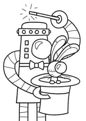 Coloring Pages of A Robot Magician Robot