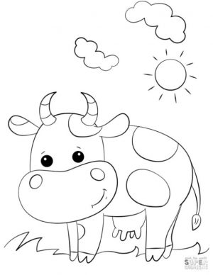 Cow Coloring Pages to Print Cute Cartoon Cow for Kindergarten