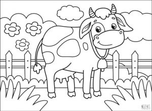 Cow Coloring Pages to Print Smiling Cow in a Farm