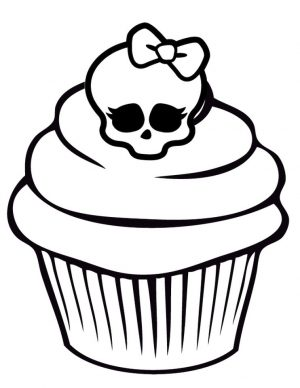 Cupcake Coloring Pages with Monster High Skullette – 8cv41
