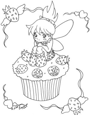Cute Cupcake Coloring Pages with Strawberry Fairy – 59v31