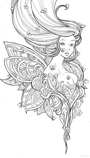 Cute and Hard Coloring Pages Butterfly Fairy