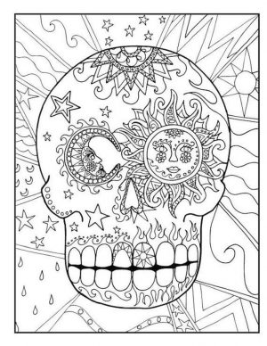 Day of the Dead Coloring Pages – Hard Coloring for Adults – 63fc1