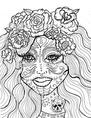 Day of the Dead Coloring Pages – Hard Coloring for Adults – ycv21
