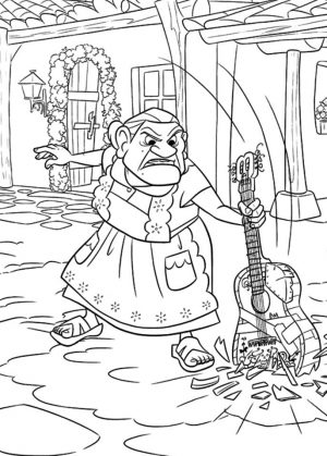 Disney Coco Coloring Pages Printable Grandma Breaking Guitar