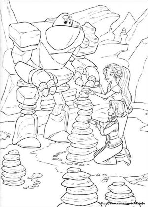 Elena of Avalor Coloring Pages Online Elena and Naomi with Stone Golem