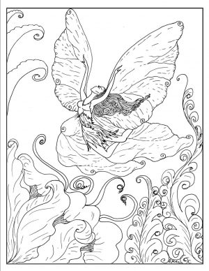 Fantasy Adult Coloring Pages Fairy Flying Like Butterfly