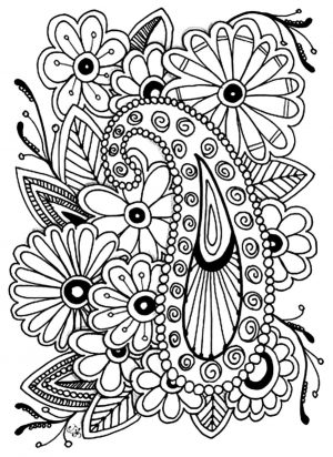Floral Pattern Coloring Pages for Adult Free psl4