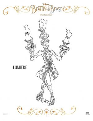 Free Printable Beauty and The Beast 2017 Coloring Pages Lumiere