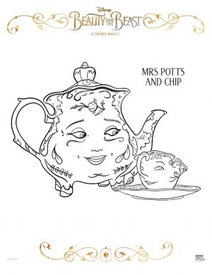 Free Printable Beauty and The Beast 2017 Coloring Pages Mrs. Potts and Chip