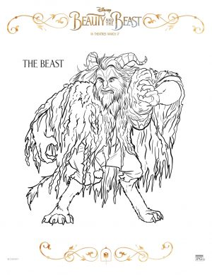 Free Printable Beauty and The Beast 2017 Coloring Pages The Beast