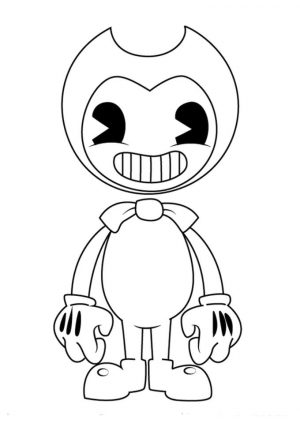 Free Printable Bendy and The Ink Machine Coloring Pages Bendy with Hs Wide Grin