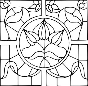 Hard Coloring Pages Online Stained Glass