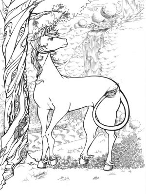 Hard Coloring Pages Printable Free Mythical Unicorn