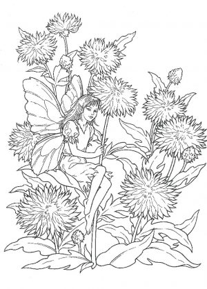 Hard Coloring Pages Spring Fairy and Dandelions