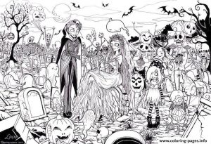 Hard Coloring Pictures for Adults Zombie Groom and Bride