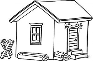 House Coloring Pages Log Cabin House