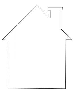 House Coloring Pages Printable Blank House Drawing for Kindergarten