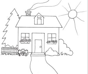 House Coloring Pages Printable Simple but Happy House